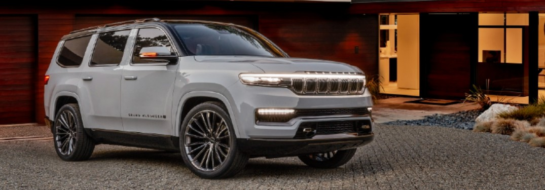 2022 Jeep Grand Wagoneer Concept in residential driveway