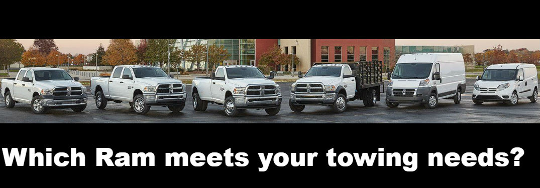 "Ram truck and van lineup in white with the words ""Which Ram meets your towing needs?"""