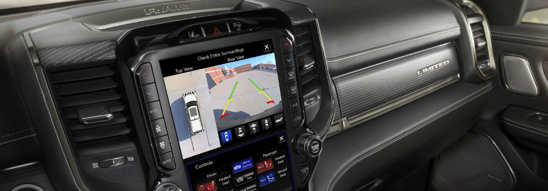 dashboard and infotainment system of the 2019 Ram 1500 showing a rear backup camera