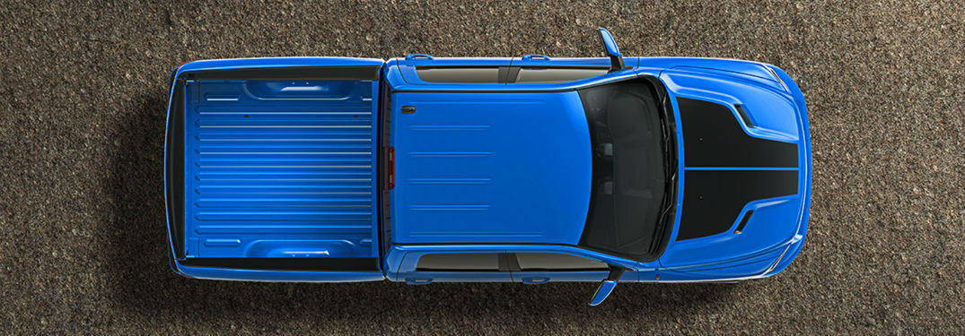 overhead view of the bed and body of the 2018 Ram 1500 Hydo Blue
