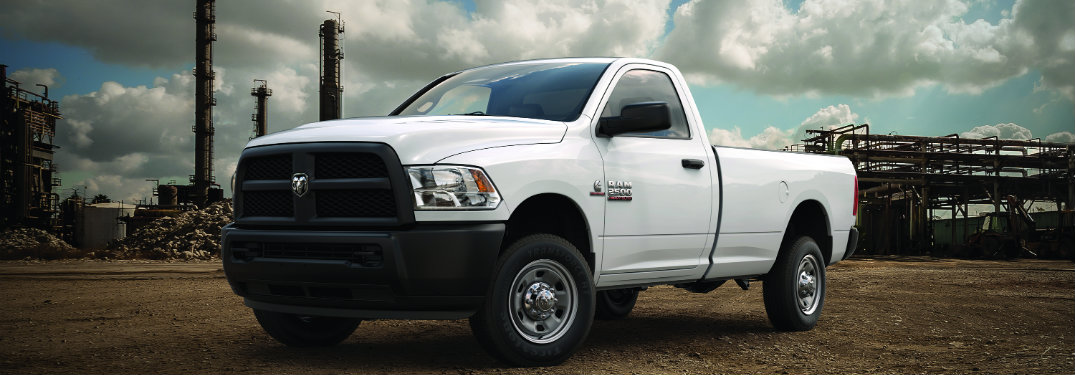 side view of a white 2018 Ram 3500