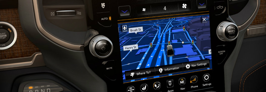 12-inch Uconnect infotainment system showing a map in the 2019 Ram 1500