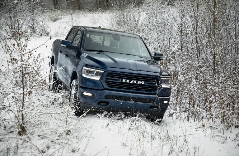 2019 Ram 1500 North Edition going down a snowy hill
