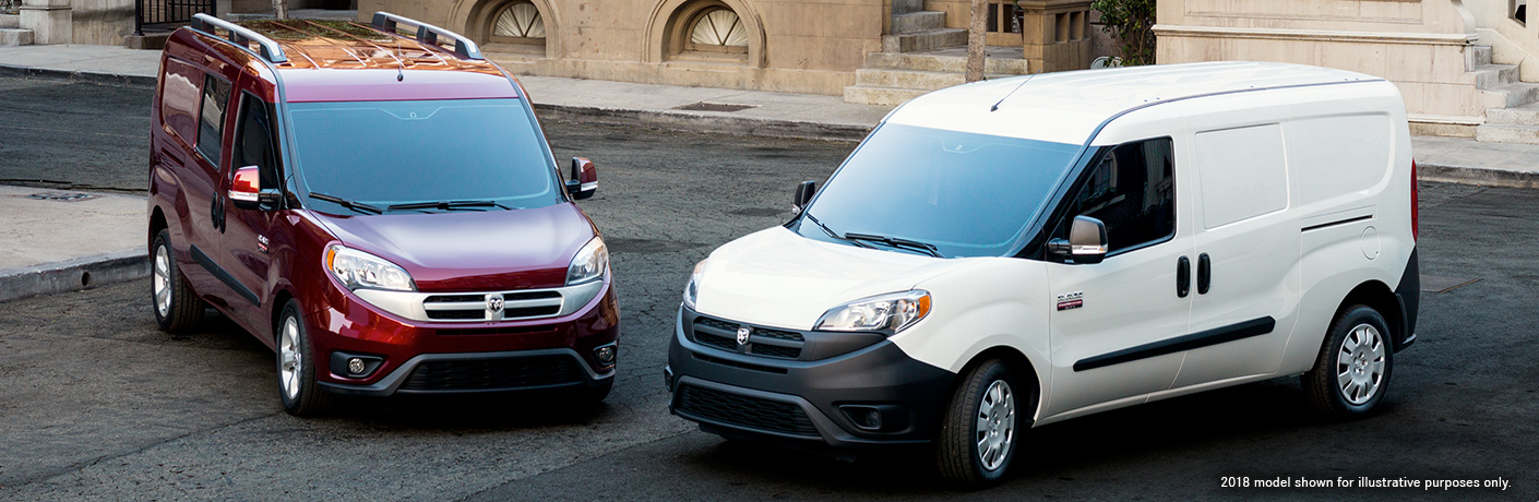 2019 Ram ProMaster City in Deep Red Metallic and Bright White