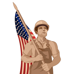 laborer with American flag