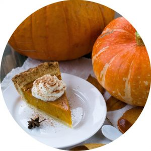 Thanksgiving pumpkin pie and pumpkin