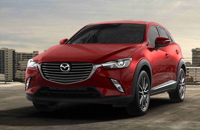 2017 Mazda CX-3 exterior view of front and left side in red