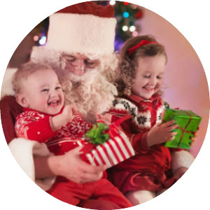 santa claus with two children