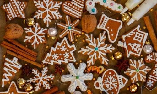 an assortment of bake Christmas cookies and other treats