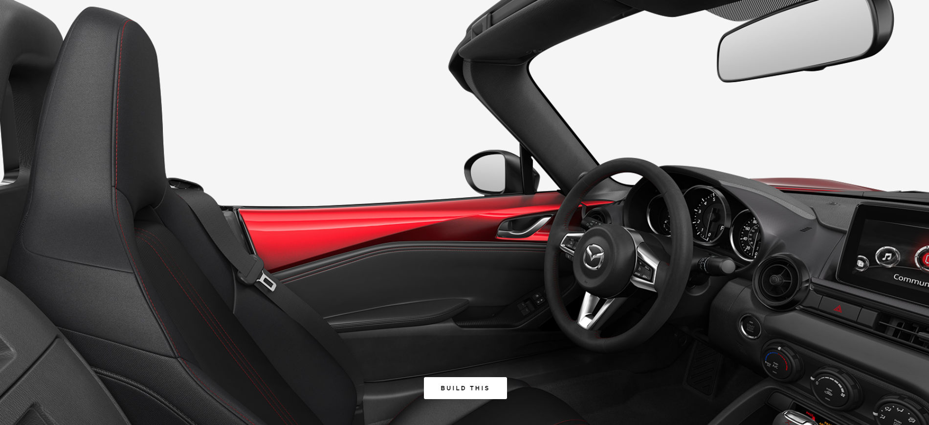 2019 Mazda MX-5 Miata Black Cloth with Red Accent Stitching