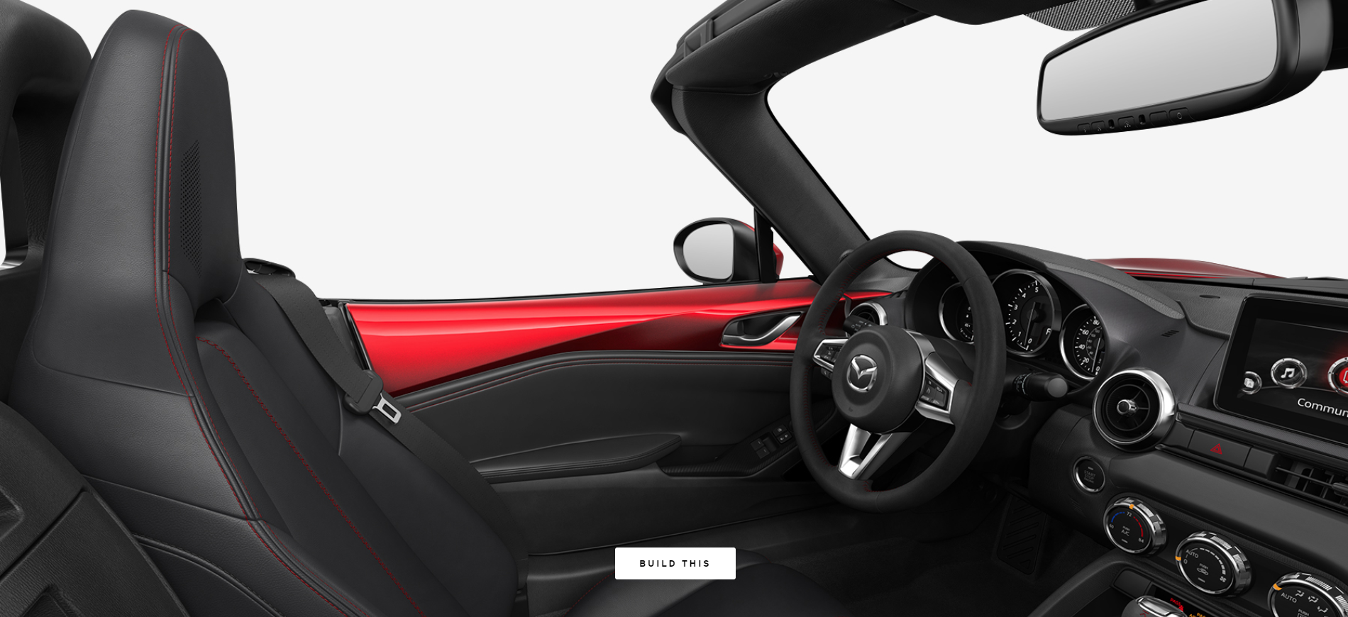 2019 Mazda MX-5 Miata Black Leather with Red Accent Stitching