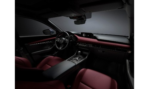 2019 Mazda3 interior shot with burgundy colored materials