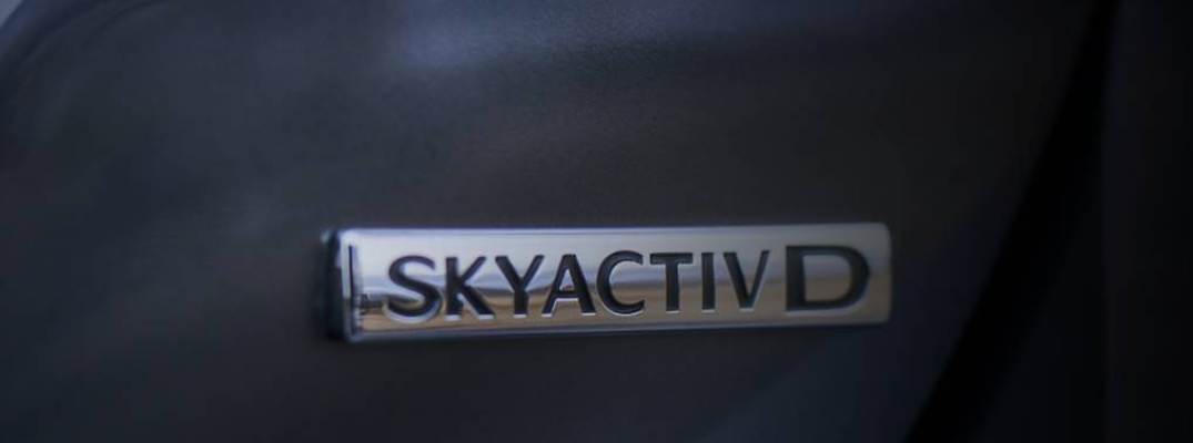 SKYACTIV-D diesel tag on the back of a concept frame for the 2019 Mazda6 Signature SKYACTIV-D