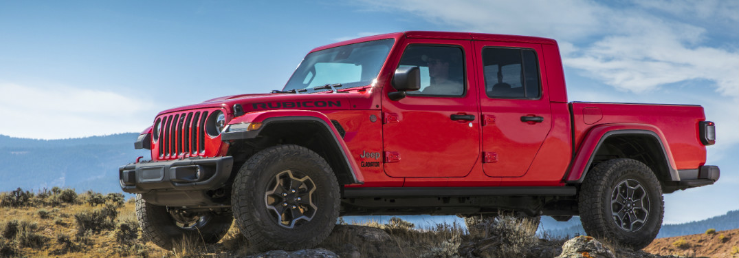 side view of a red 2020 Jeep Gladiator