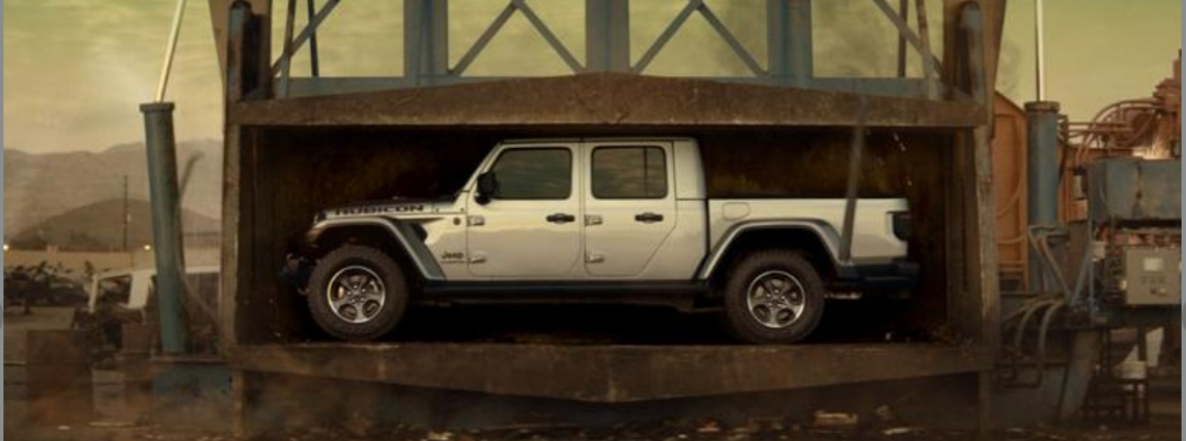 2020 Jeep Gladiator in junkyard car crusher