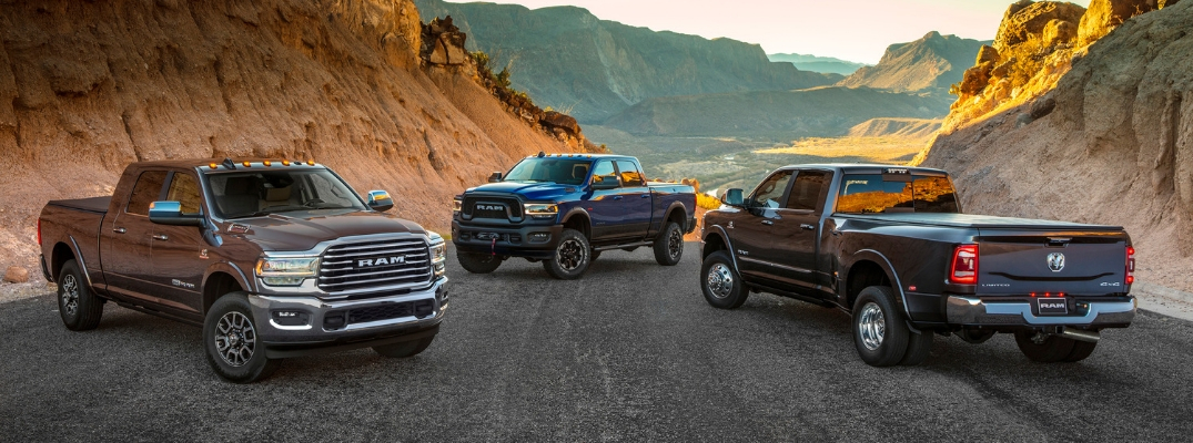 Two 2019 Ram 2500 models and 2019 Ram 3500 model