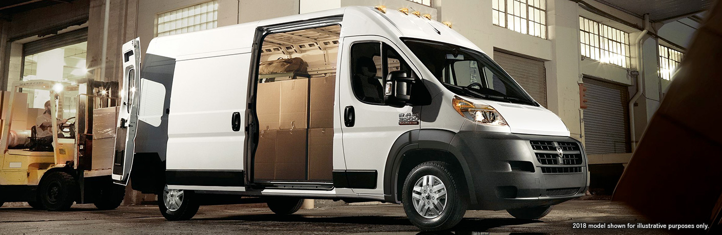 2019 Ram ProMaster Cargo Van loaded with boxes