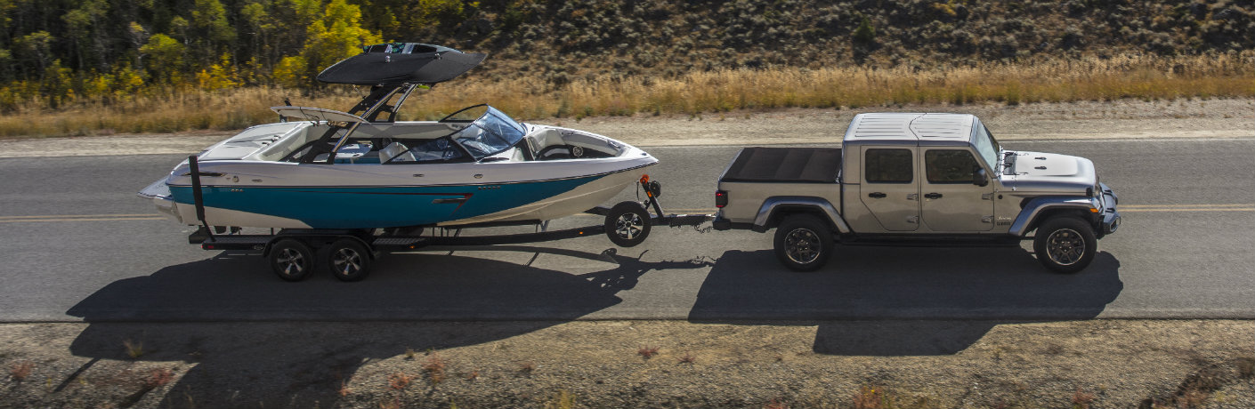 2020 Jeep Gladiator towing boat