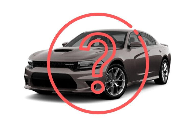 2020 Dodge Charger in greyscale with overlying question mark