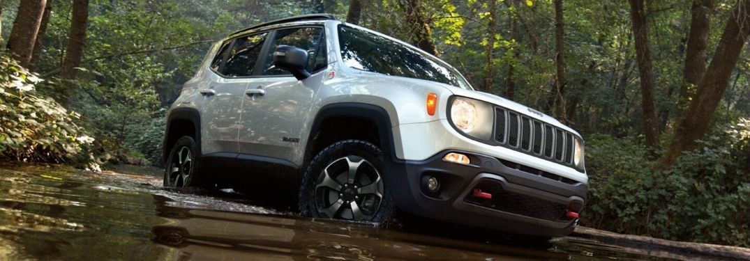 2020 Jeep Renegade fording through water
