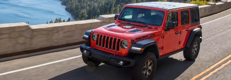 2021 Jeep Wrangler in Firecracker Red on bridge