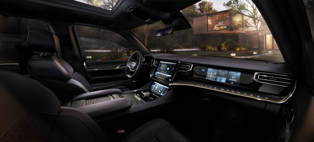 2022 Jeep Grand Wagoneer Concept dashboard and steering wheel
