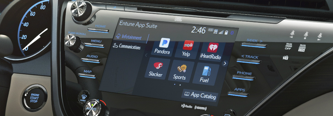 Closeup of a Toyota touchscreen with the Entune App Suite
