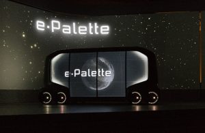 Toyota e-Palette concept vehicle on stage at CES 2018