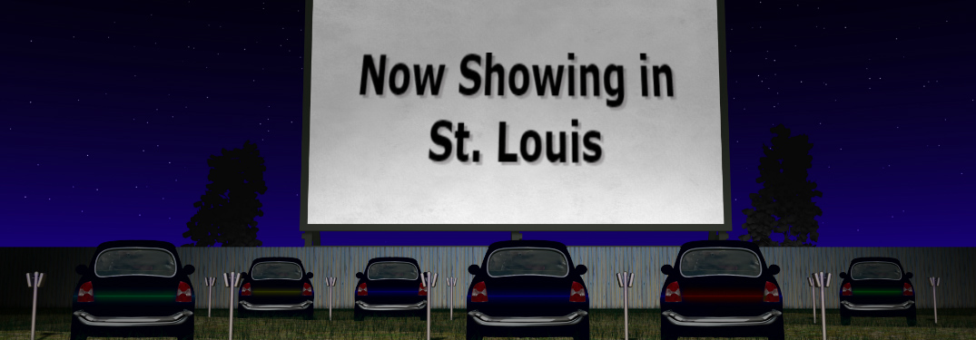 Drive-in movie graphic with a screen that says Now Showing in St. Louis