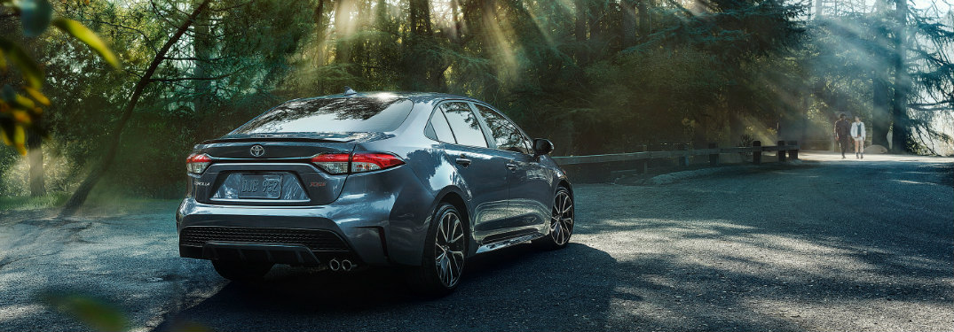 2020 Toyota Corolla parked in a lot near trees on a sunny day