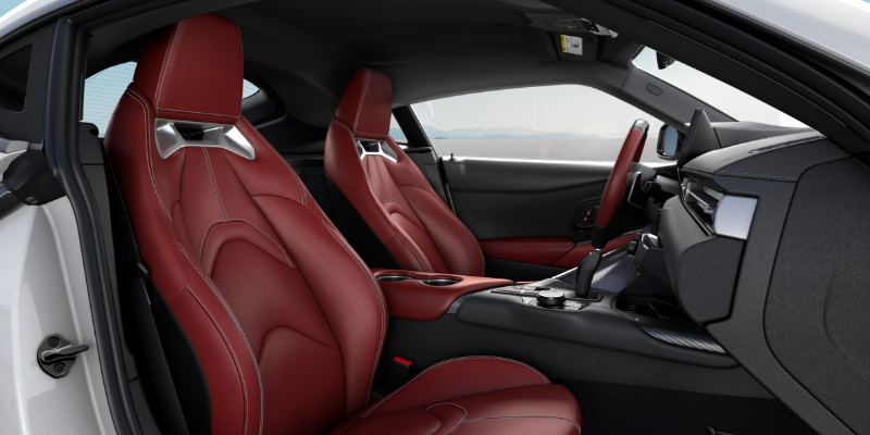 2020 Toyota Supra interior with red leather