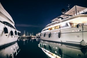 Boats at Night in Water