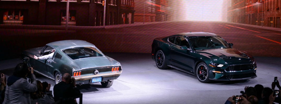 1968 and 2019 Ford Mustang Bullitt Editions Parked together at Detroit Auto Show