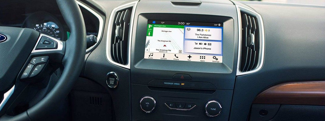 Isolated view of Ford SYNC infotainment system
