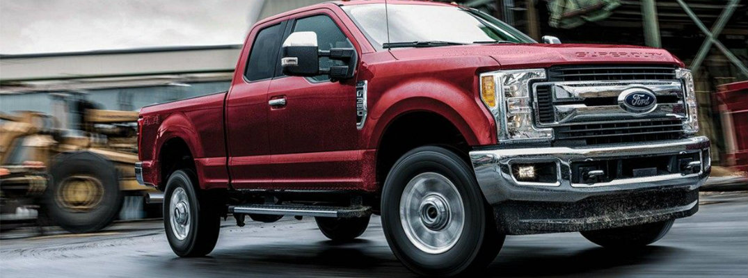 Profile view of red 2019 Ford Super Duty F-350