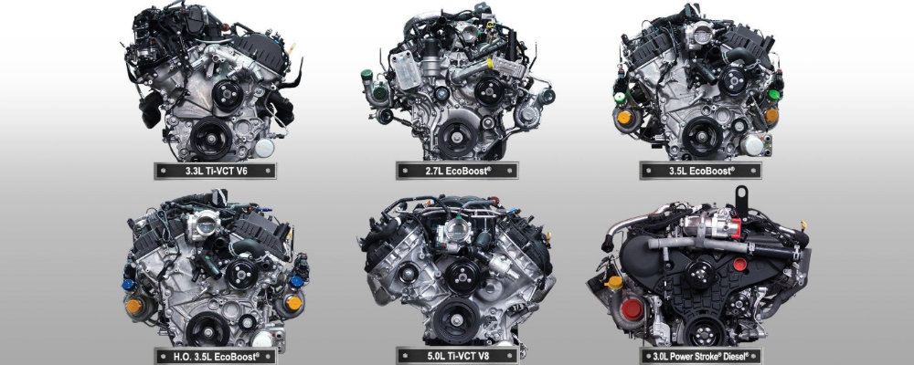 List image of six 2019 Ford F-150 engines