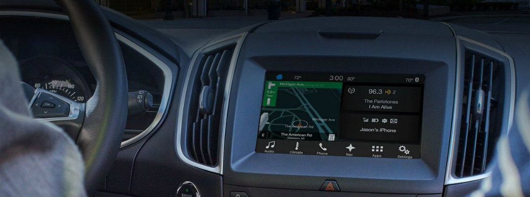 Centre view of Ford SYNC infotainment touchscreen
