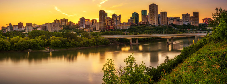 Sunset over Downtown Edmonton on the North Saskatchewan River