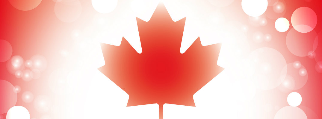 Canadian maple leaf flag design on red and white background