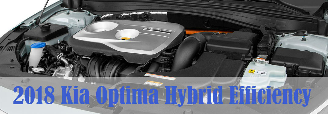 2018 Kia Optima Hybrid Efficiency with an image of the engine