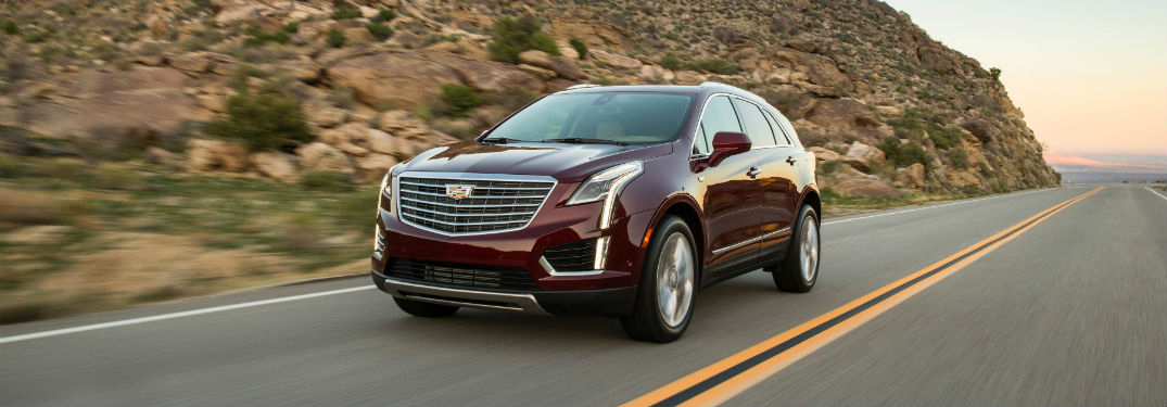 Front exterior view of a red 2018 Cadillac XT5