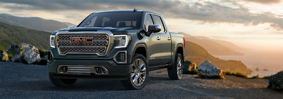 Front exterior view of a black 2019 GMC Sierra 1500 Denali