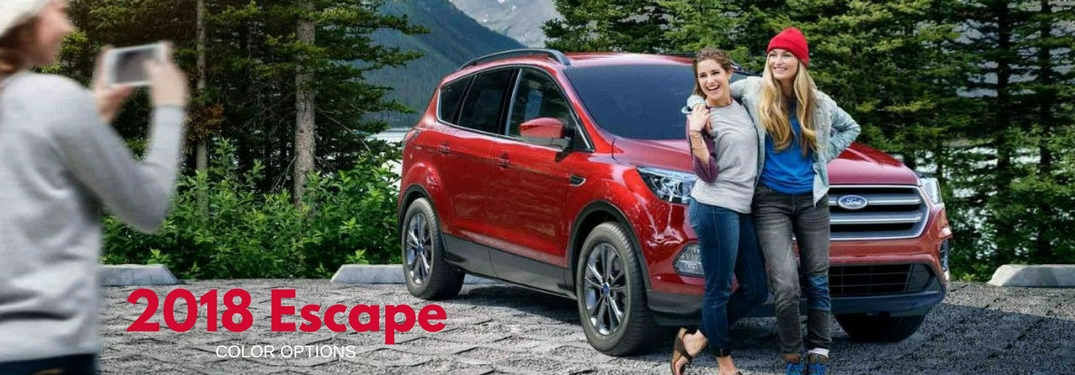 2018 Ford Escape Color Options, text on an exterior image of a red 2018 Ford Escape