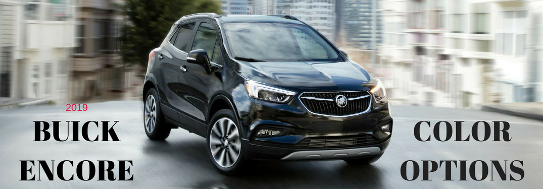 2018 Buick Encore Color Options, text on an exterior image of a black 2018 Buck Encore