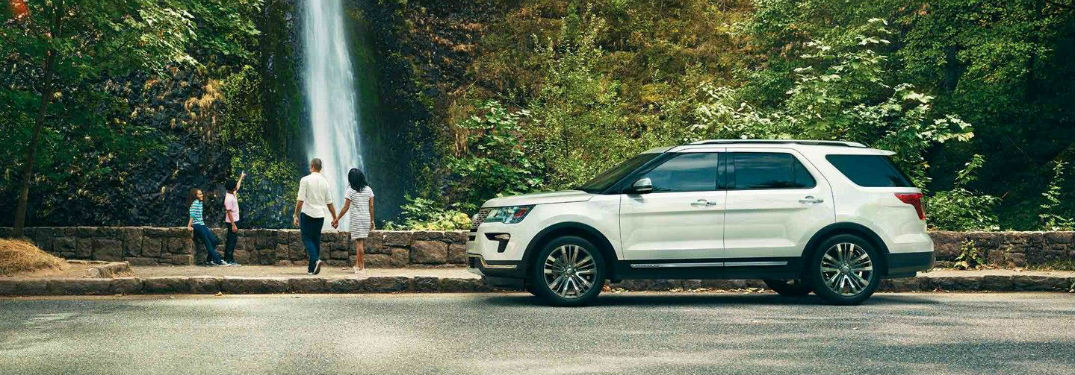Driver side exterior view of a white 2018 Ford Explorer
