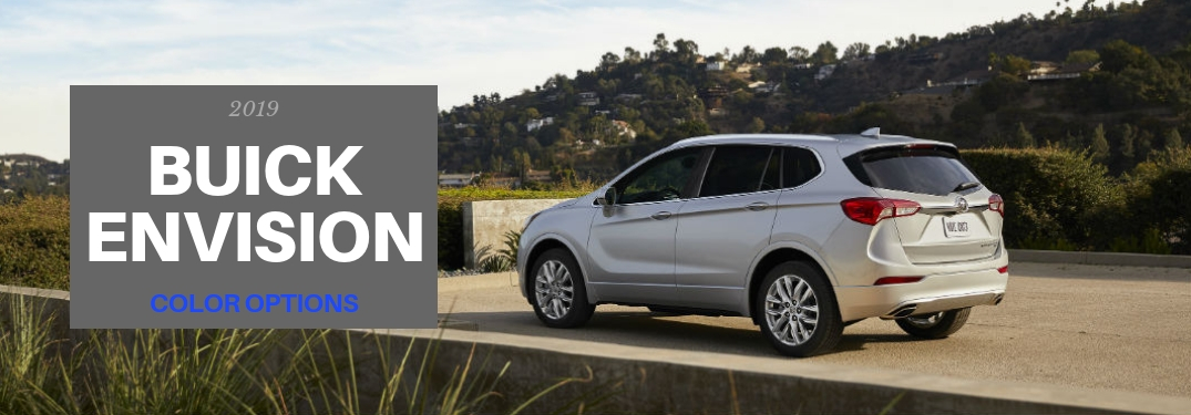 2019 Buick Envision Color Options, text on an exterior driver side image of a gray 2019 Buick Envision