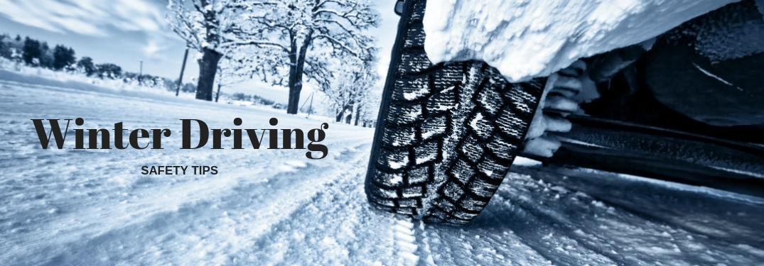 Winter driving safety tips, text on an image of a car tire driving over a snowy road