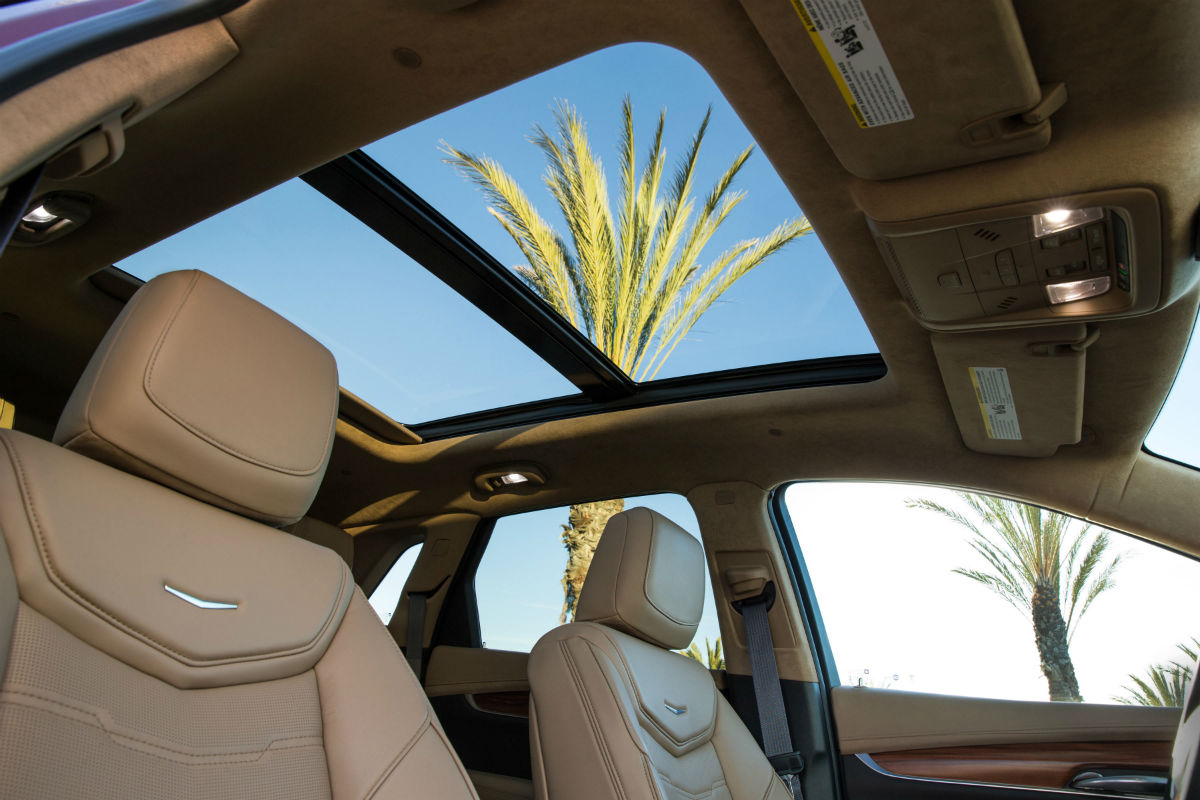 Looking out the available sunroof of the 2019 Cadillac XT5