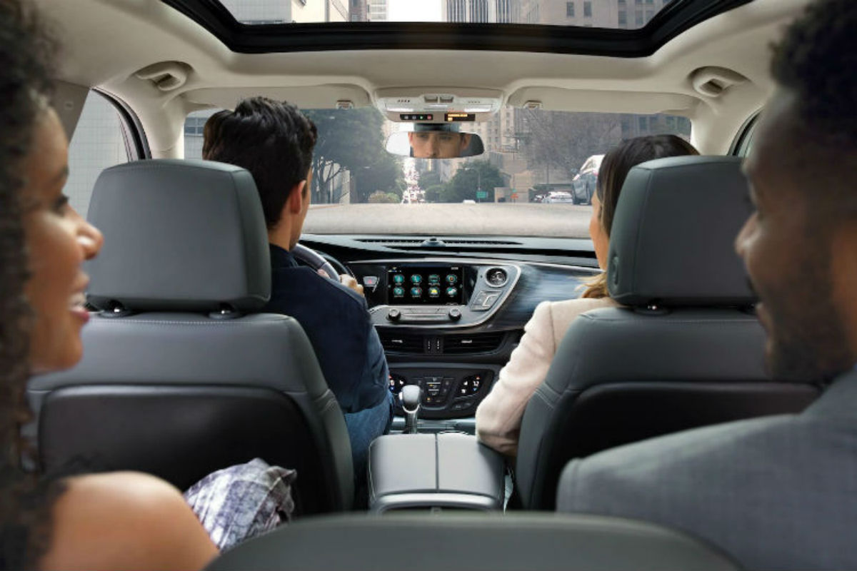 Looking out the front windshield from the second-row seat in the 2019 Buick Envision