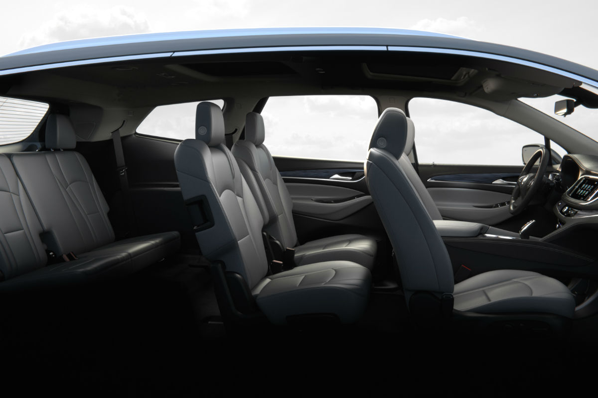 Side view of the three rows of seating in the 2019 Buick Enclave